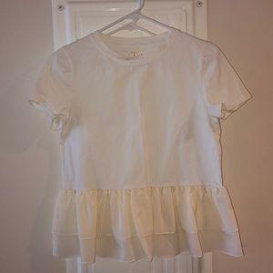 Cream Kate spade t shirt with ruffle